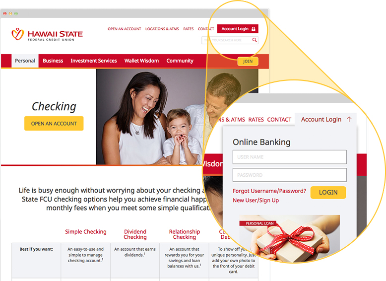 Online Banking login is in the top right corner