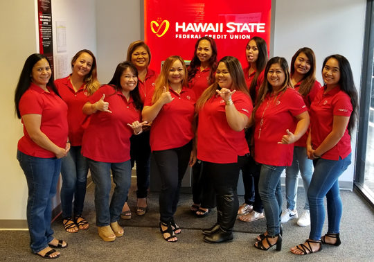 Hawaii State FCU employees showing off their pride.