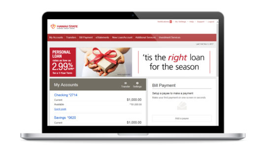 Online Banking on your laptop.