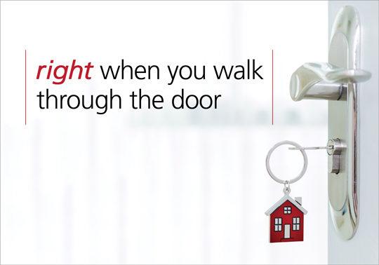Headline: Right when you walk through the door. Image keys in a door.