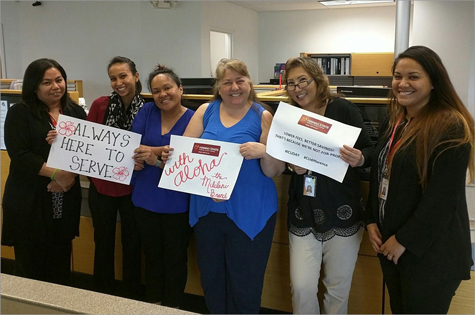 Mililani Branch employees hold signs on International Credit Union Day. The signs say