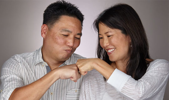 couple doing a fist bump