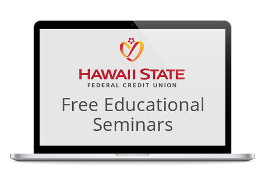 Laptop promoting Free Educational Seminars from Hawaii State FCU.