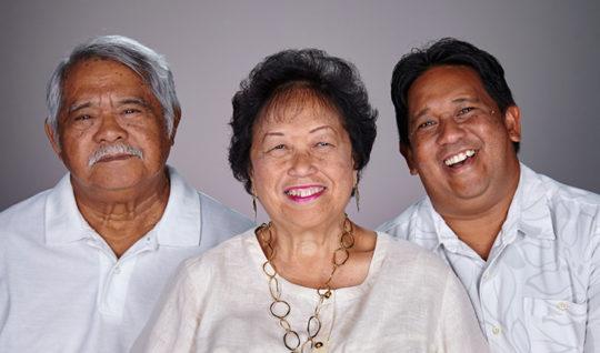 Happy family of three.