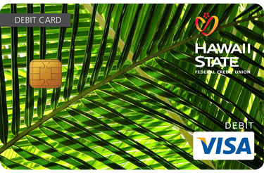 Custom debit card design of up close palm tree.