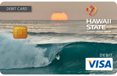 Custom debit card design of a sunset at Pipeline.