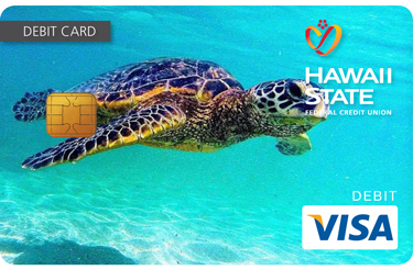 Custom debit card design of sea turtle.