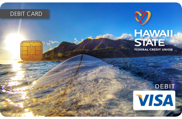 Custom debit card design of surfer at Diamond Head.