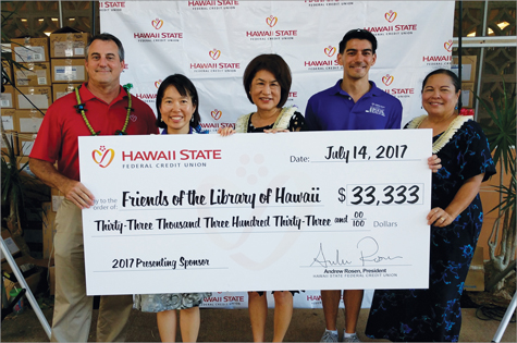 Check presentation to the Friends of the Library of Hawaii with a donation of $33,333.