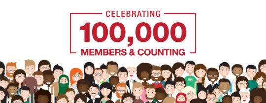 Celebrating 100,000 Members & Counting - illustration of large group of people
