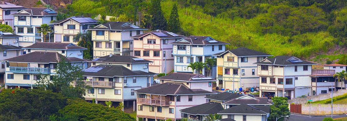 Scenic Honolulu Oahu. Hawaii homes on a hill