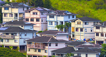 Scenic Honolulu Oahu. Hawaii homes on a hill