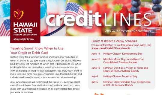 HSFCU June 2018 CreditLines Newsletter Cover