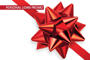 Personal Loan Promo text with a red ribbon on a white background