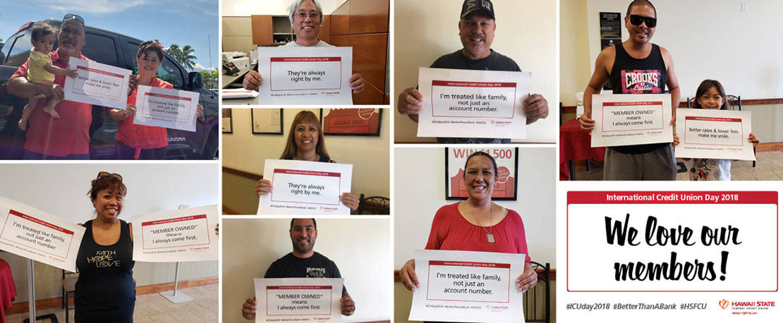 Photos of members holding up signs about why they love their credit union.