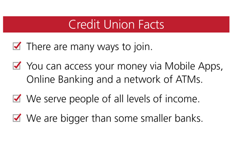 Credit Union Facts: 1) There are many ways to join. 2) You can access your money via Mobile Apps, Online Banking and a network of ATMs. 3) We serve people of all levels of income. 4) We are bigger than some smaller banks.