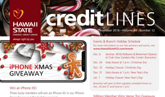 Hawaii State FCU CreditLines Newsletter December Issue