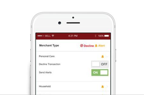 Debit Card Controls screenshot