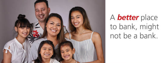 A family portrait of the Thompson Family, a husband, wife and 4 daughters. Headline states: A better place to bank, might not be a bank. Click the link to watch their video now.