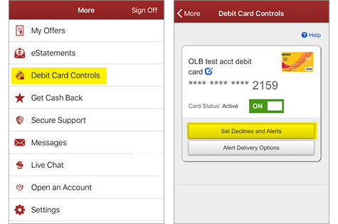 Screenshots of the Debit Card Controls feature on the Mobile App when listed and then selected to set card as active. Set Declines and Alerts. Alert Delivery Options.