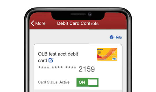 Screenshot of what the Debit Card Controls feature looks like on the Mobile App. Debit Card image appears with the last four digits of the card number. Card Status is active.