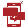"Illustrative icon showing a phone with two talking bubbles representing ""Mobile Live Chat""."