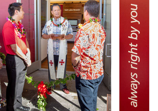 Salt Lake Branch Blessing wtih the Kahu in front of the main entrance to the branch.