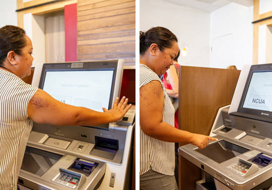 Photos of a member using the palm vein technology at the ITM and doing a transaction at the ITM machine.