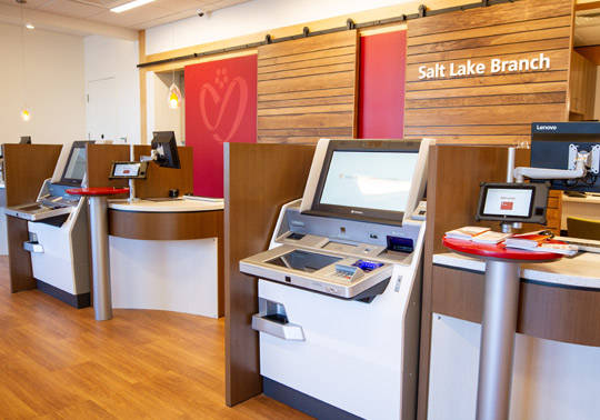 Close up photo of the ITM machines in the interior space of the new Salt Lake Branch