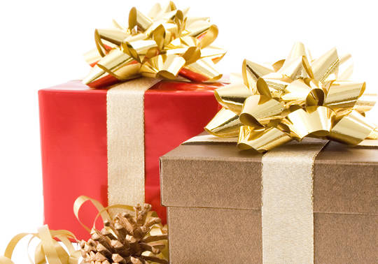 Photo of Christmas presents with gold ribbon for the 2019 Holiday Loan promotion