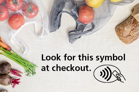 Photo of groceries with text, Look for this symbol at checkout. - Digital Wallet, Step 2