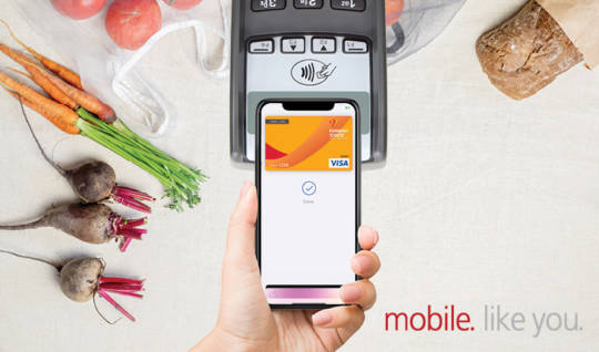 Photo of groceries and tap & pay card reader paying with smartphone, with text,