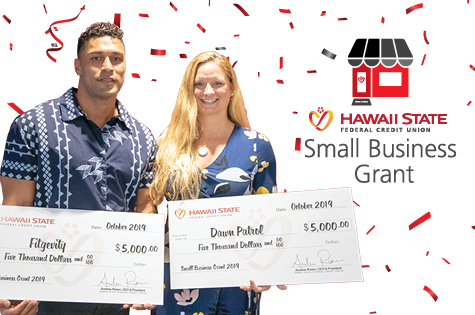 Hawaii State FCU's 2019 Small Business Grant Recipients Dawn Martin and Brad Kalilimoku