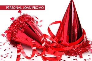 Photo of two red shiny metallic party hats with confetti promoting HSFCU Recovery Loan in the Online Banking Drop Down Login