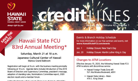 Graphic for the January 2020 CreditLines Newsletter