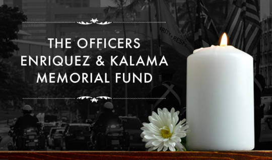 Image for the Officers Enriquez & Kalama Memorial Fund showing the memorial parade and a candle