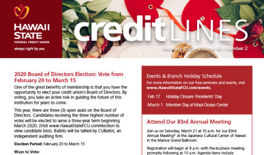 CreditLines Newsletter Cover for February 2020