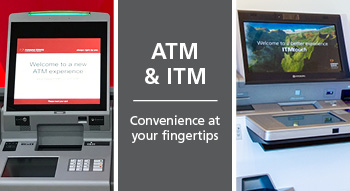 Smaller graphic for ATM and ITM, Convenience at your fingertips. Displays photos of an ATM and an ITM.