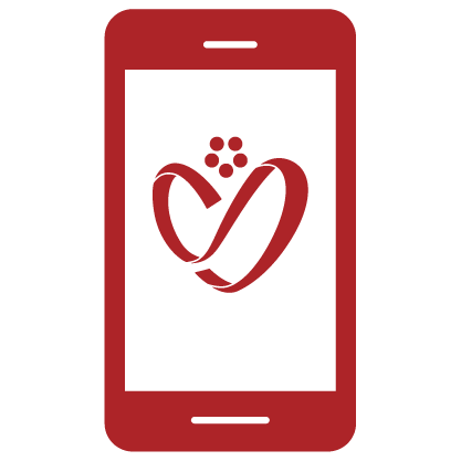 Red icon of a mobile app device with the HSFCU bloom logo