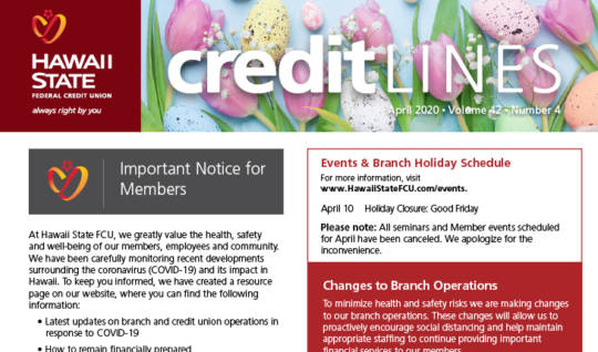 Graphic for April 2020 CreditLines Newsletter