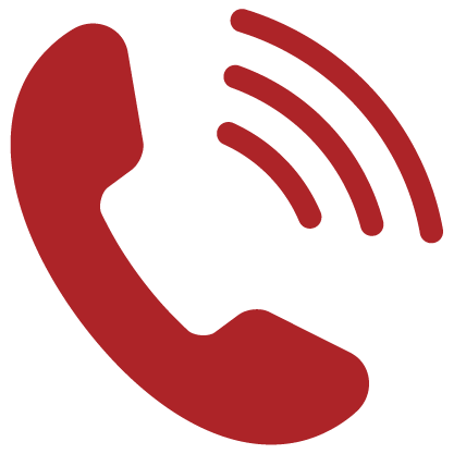 Red icon of a telephone with 3 radiating lines indicating talking for Private Line Bank By Phone