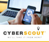 Photo of a man using his phone infront of his laptop. Phone shows a secure lock icon with username, password, login prompt. CyberScout Logo.