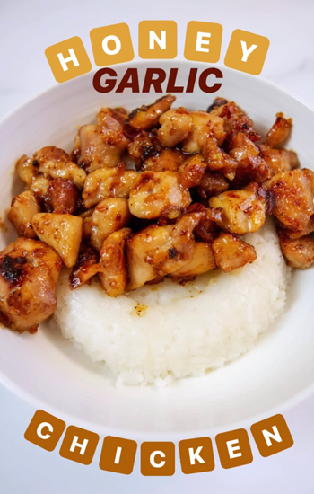 Photo of our Bites on a Budget Pantry Edition, Honey Garlic Chicken recipe.