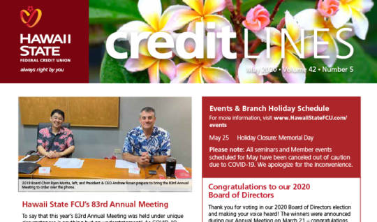 Image of the May 2020 CreditLines Newsletter Masthead