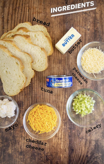 Bites on a Budget Pantry Edition, Photo of the Tuna Melt Ingredients