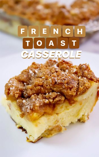 Photo of our Bites on a Budget Pantry Edition, French Toast Casserole recipe.