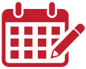 Icon of a pencil writing on a calendar indicating appointments required