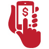 Icon of hands holding a smartphone with a dollar sign on the screen indicating mobile banking
