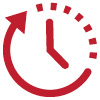 Icon of a clock indicating time for Senior Hours in branches