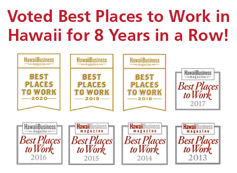 Voted Best Places to Work in Hawaii for 8 Years in a Row! Displays all 8 logos from 2013 to 2020.